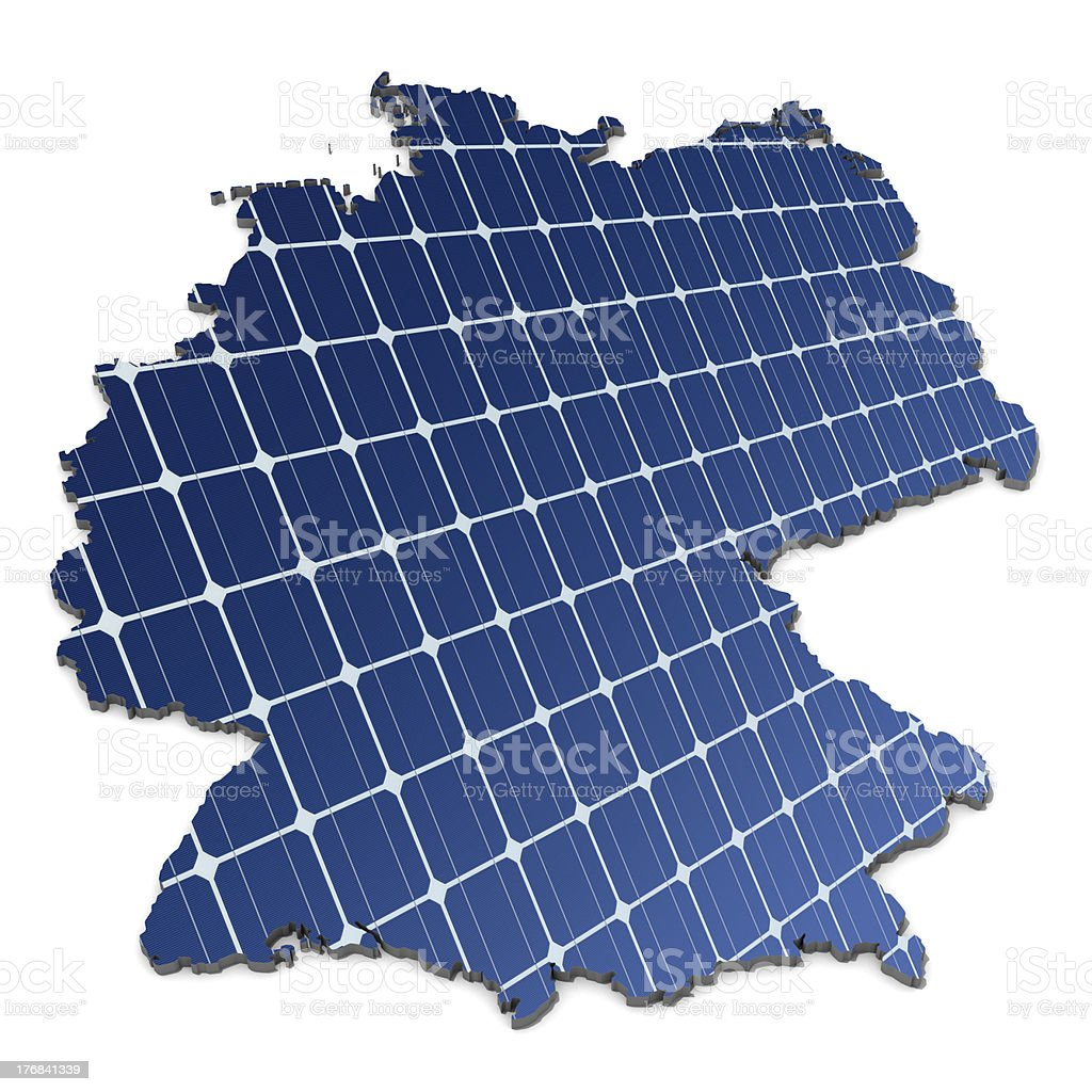 mono-crystalline solar cells in an abstract map of Germany stock photo