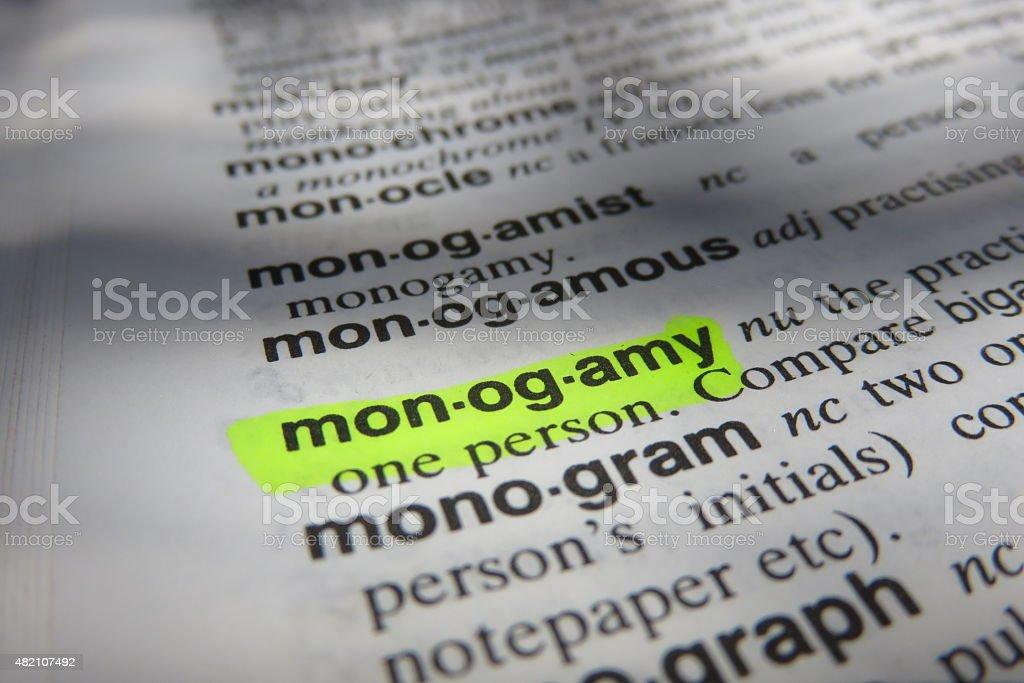 Monogamy - dictionary definition stock photo