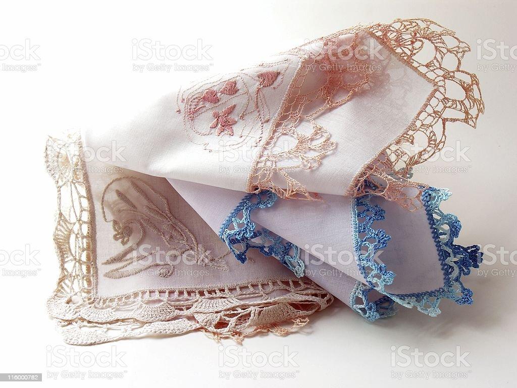 monograms on cotton laced handkerchiefs stock photo