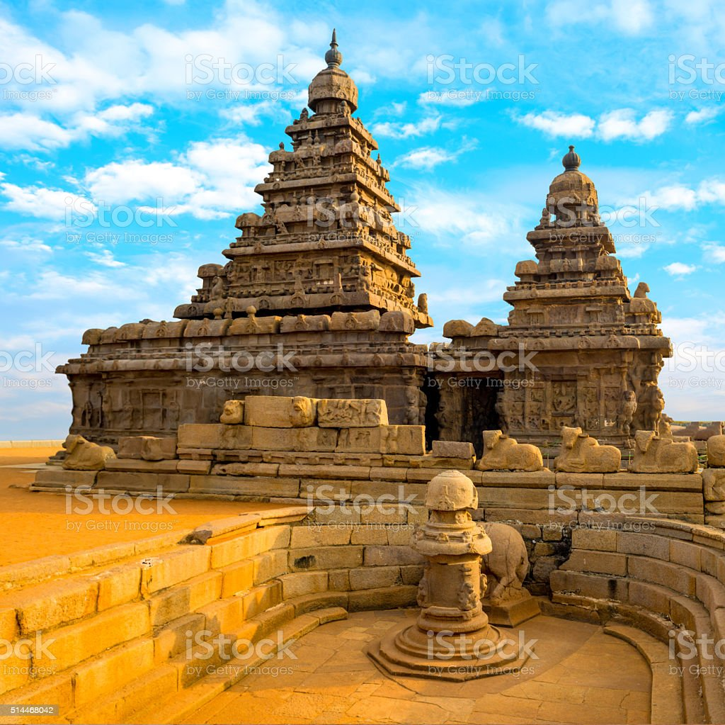 monolithic famous Shore Temple near Mahabalipuram stock photo