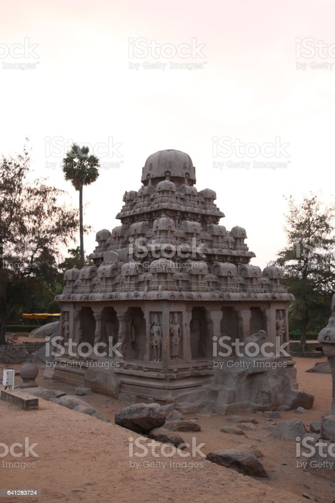Monolithic temples Five Rathas of Mahapalipuram, Tamil Nadu, India stock photo