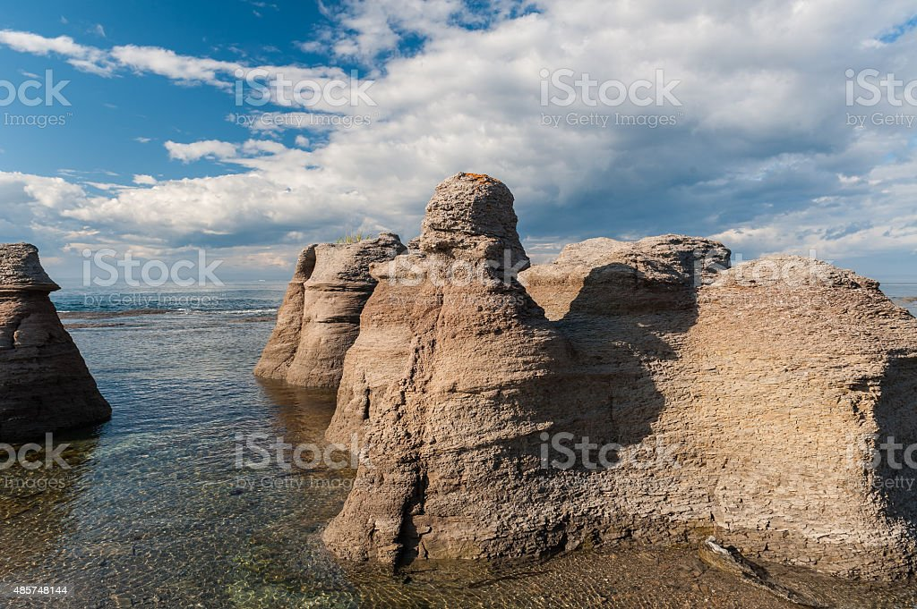 Monoliths close view  in  Mingan stock photo