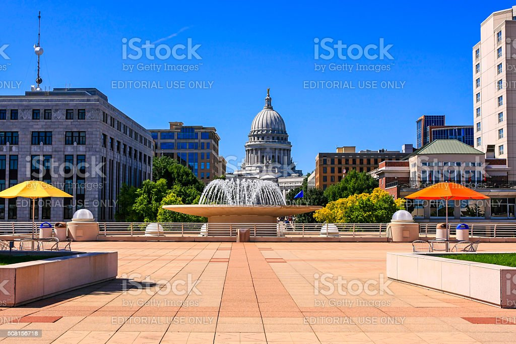 Monona Terrace and the Wisconsin State Capiton Building in Madison stock photo