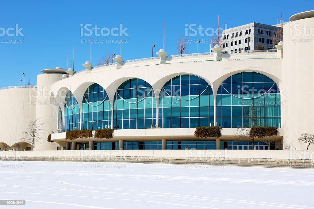Monona Terrace in winter with snow stock photo