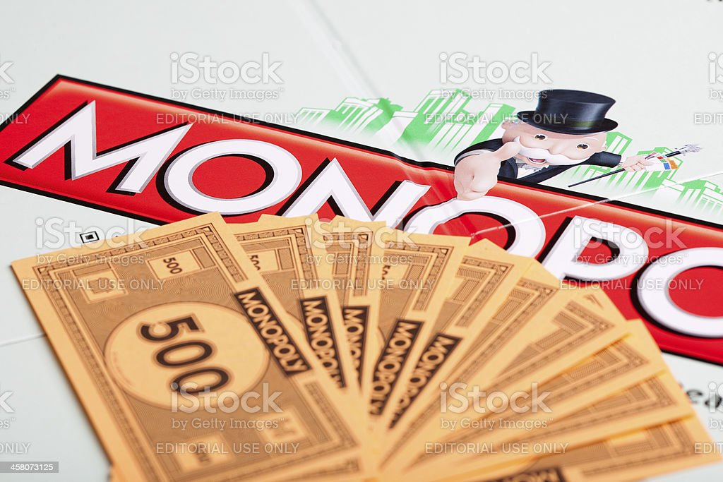Monopoly board and play money royalty-free stock photo
