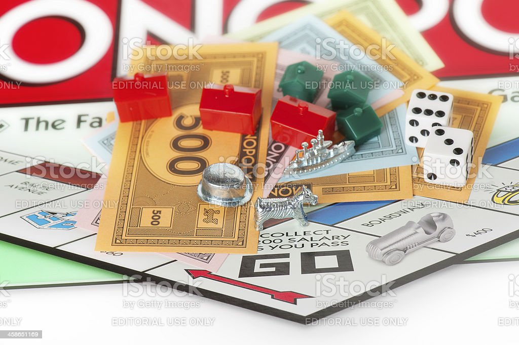 Monopoly Board Game Focused on Dog Token royalty-free stock photo