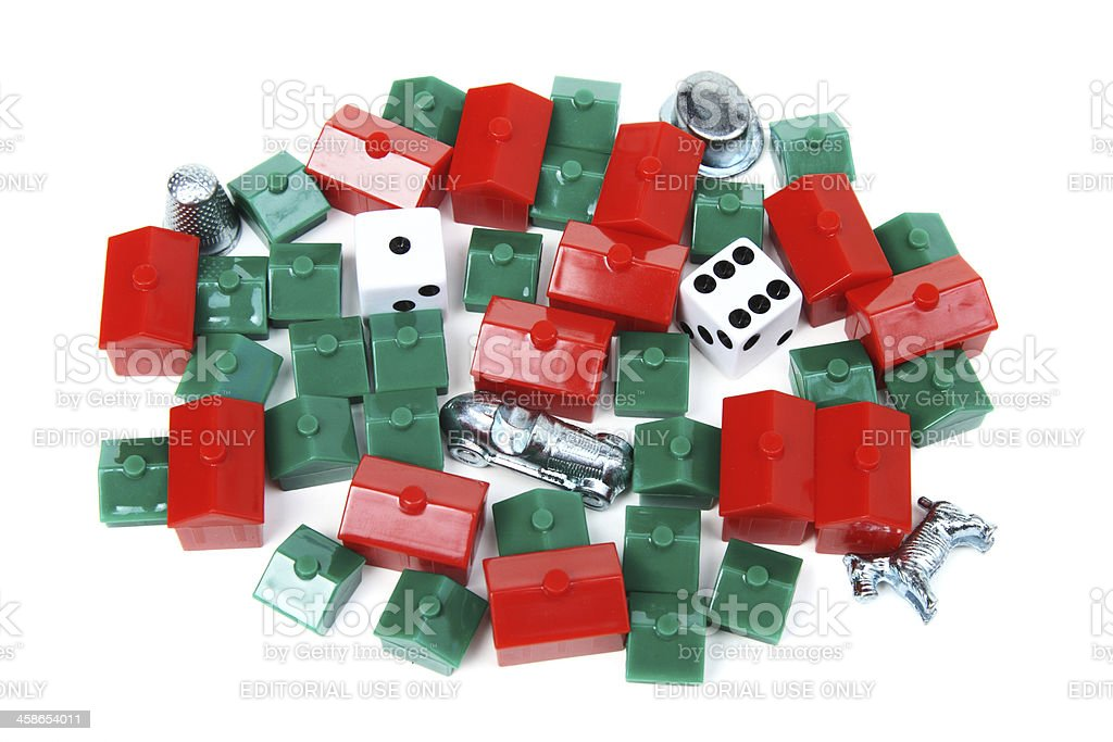 Monopoly board game pieces stock photo