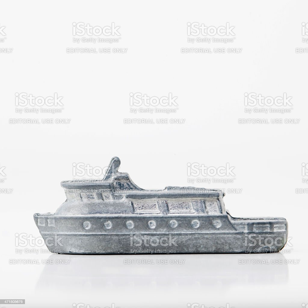 Monopoly boat game piece royalty-free stock photo