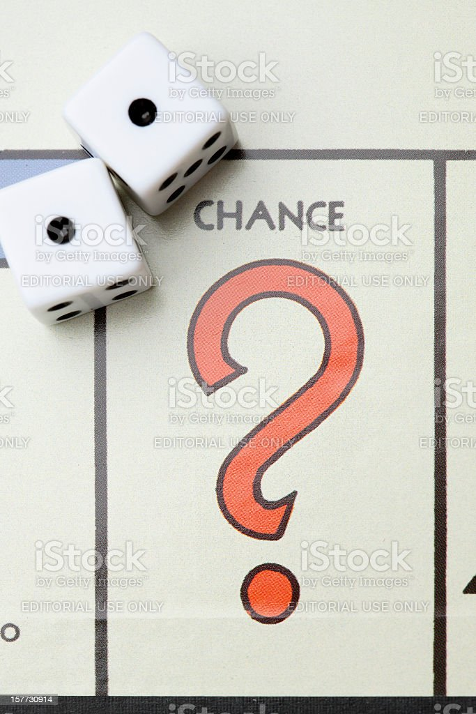 Monopoly Game Board CHANCE with Dice. royalty-free stock photo