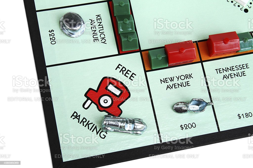 Monopoly game board showing the Free Parking square stock photo