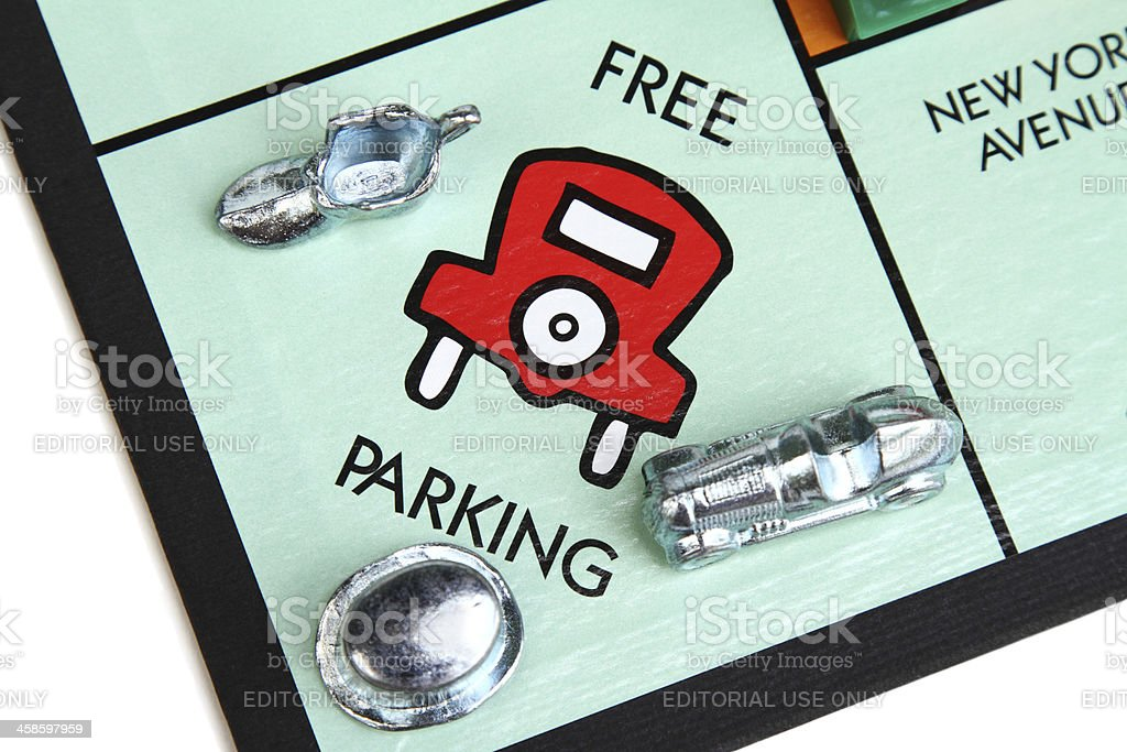 Monopoly game board showing the Free Parking square royalty-free stock photo