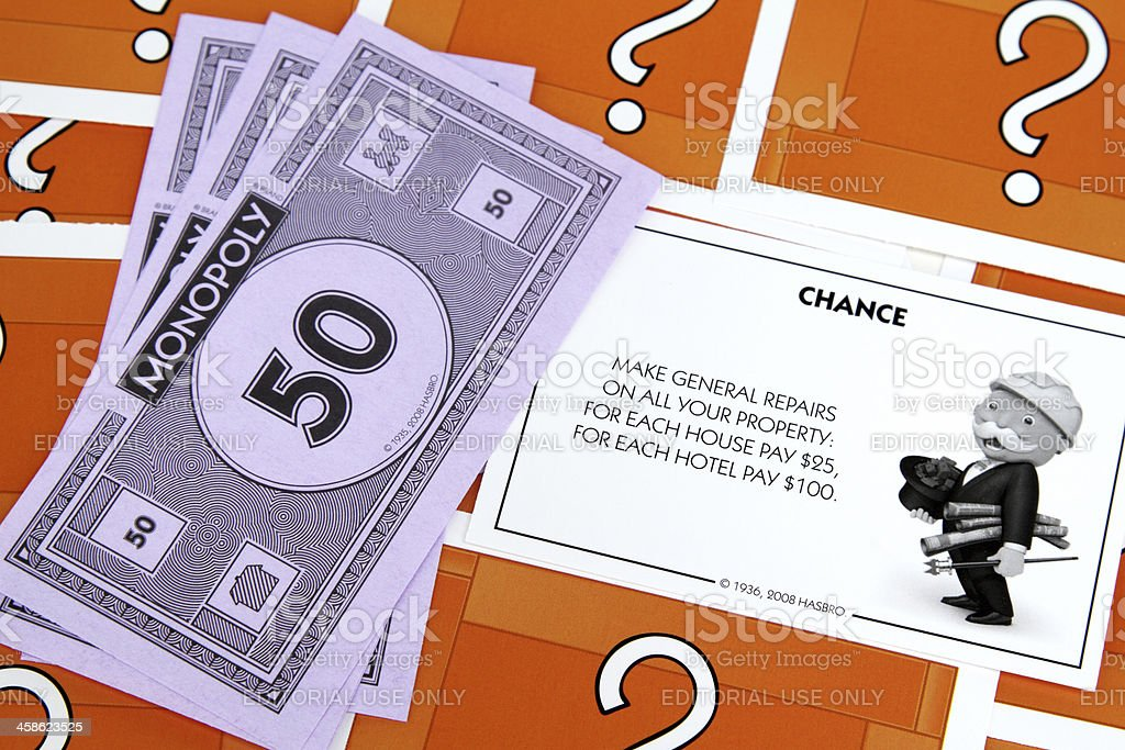 Monopoly Game Chance card for Property repairs royalty-free stock photo