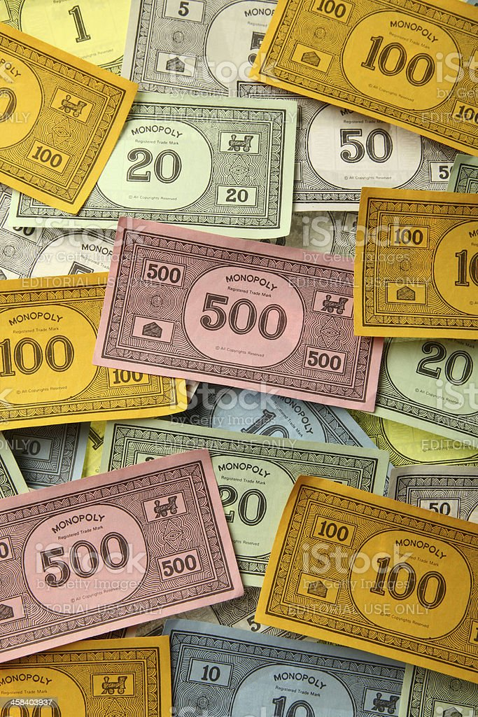 Monopoly game money stock photo