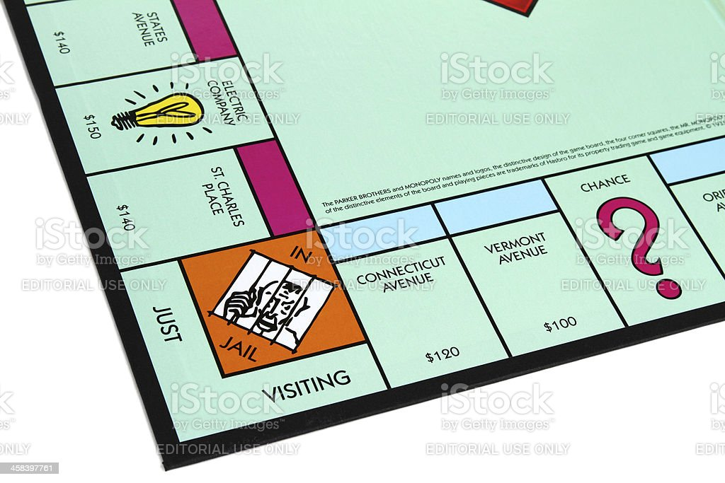 Monopoly game with Jail corner royalty-free stock photo