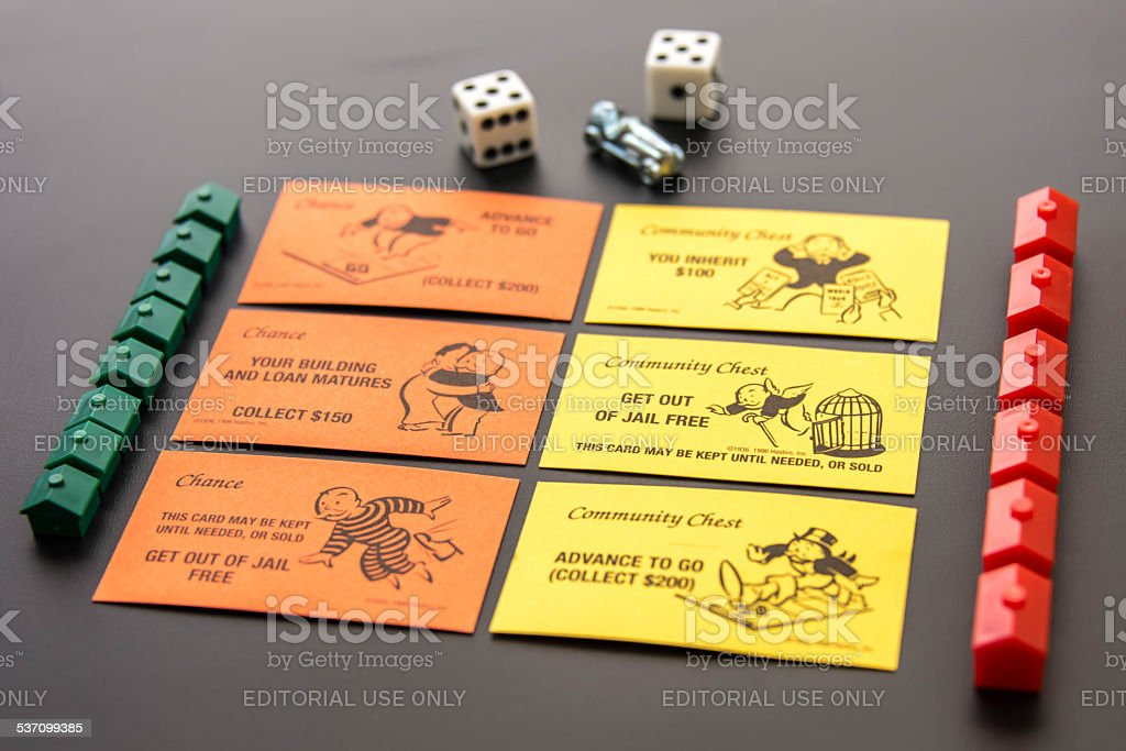 Monopoly - playing pieces and Community Chest  and Chance cards stock photo