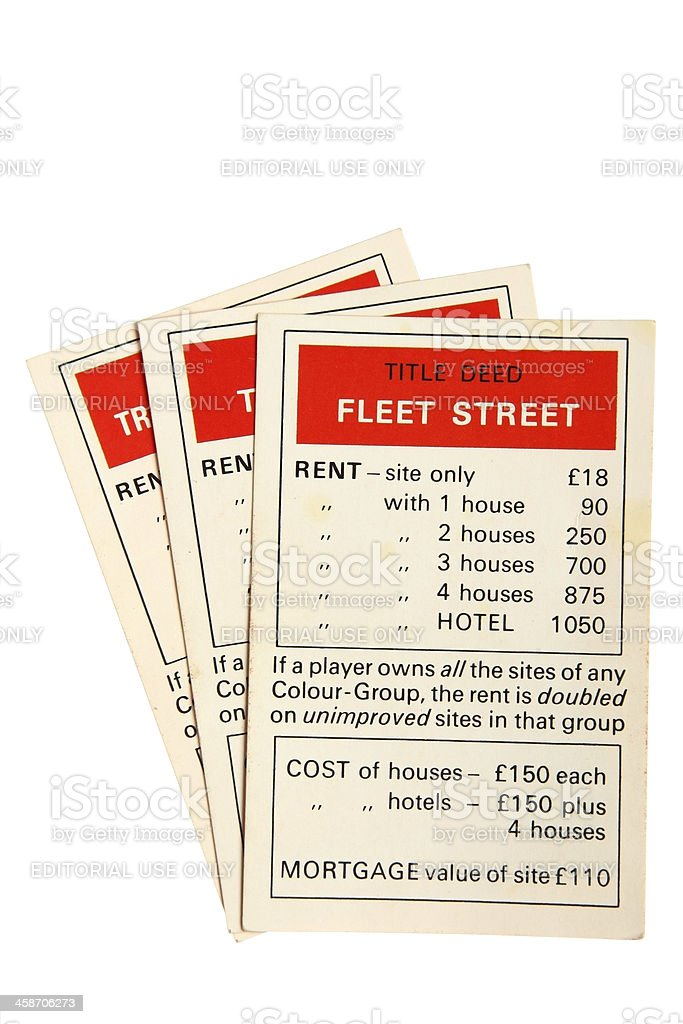 Monopoly property cards - Fleet Street stock photo
