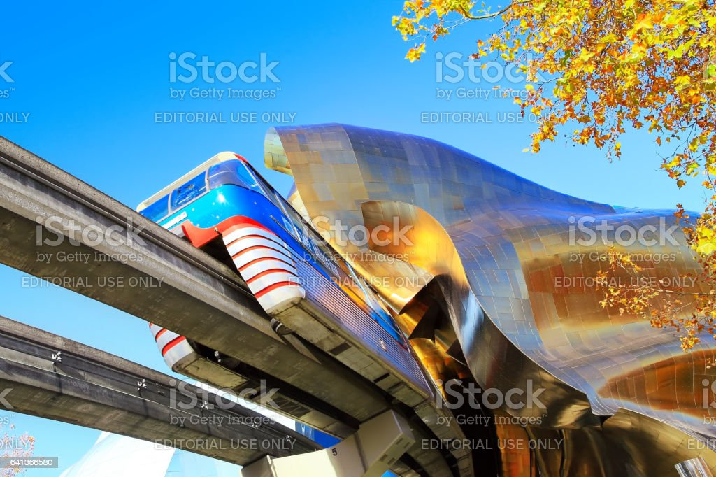 Monorail and EMP Museum stock photo