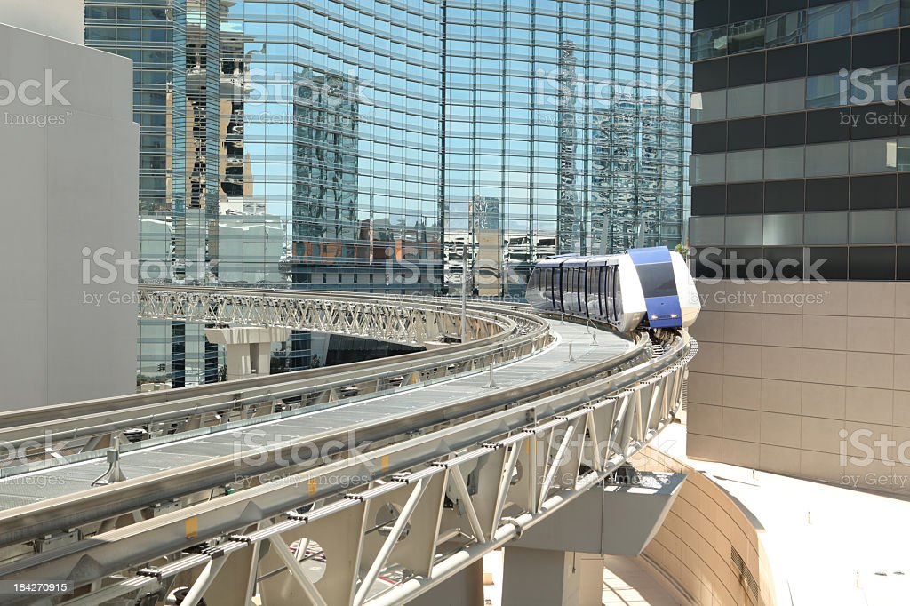 Monorail and skyscrapers stock photo