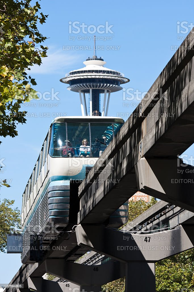 Monorail and Space Needle stock photo