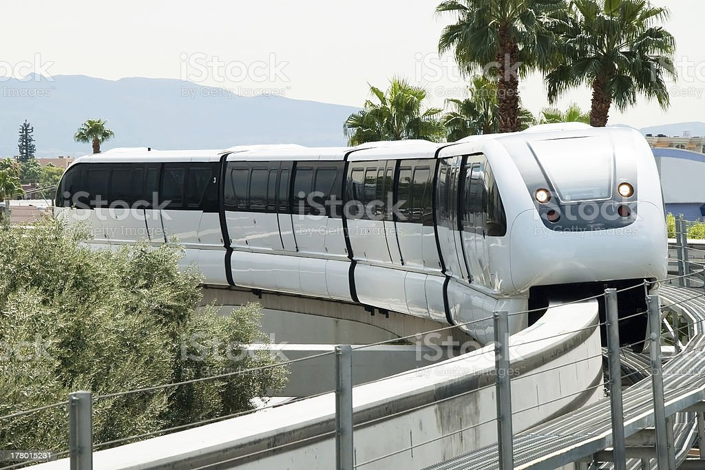 Monorail arriving to station on the Las Vegas Strip stock photo
