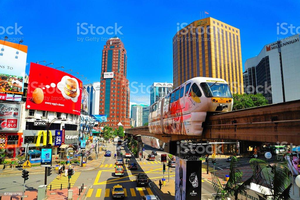 Monorail at Bukit Bintang, Kuala Lumpur, Malaysia. stock photo