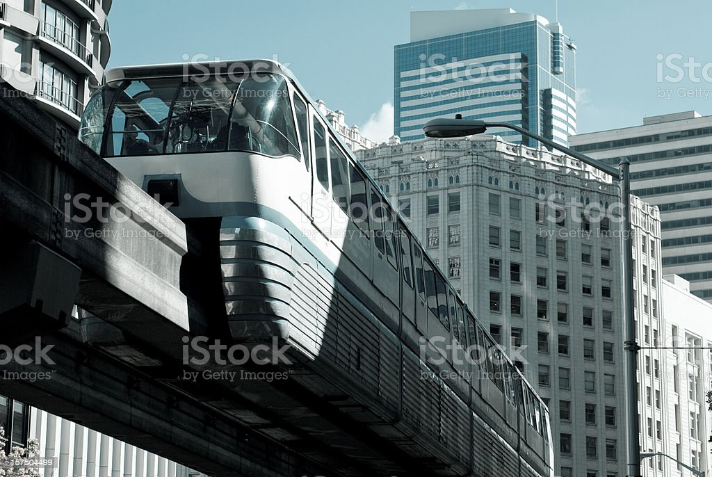 Monorail in downtown Seattle stock photo