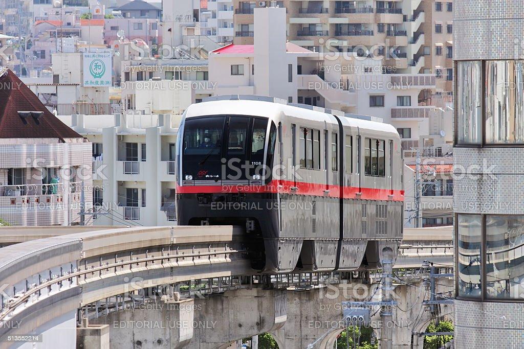Monorail line in Naha city, Okinawa stock photo