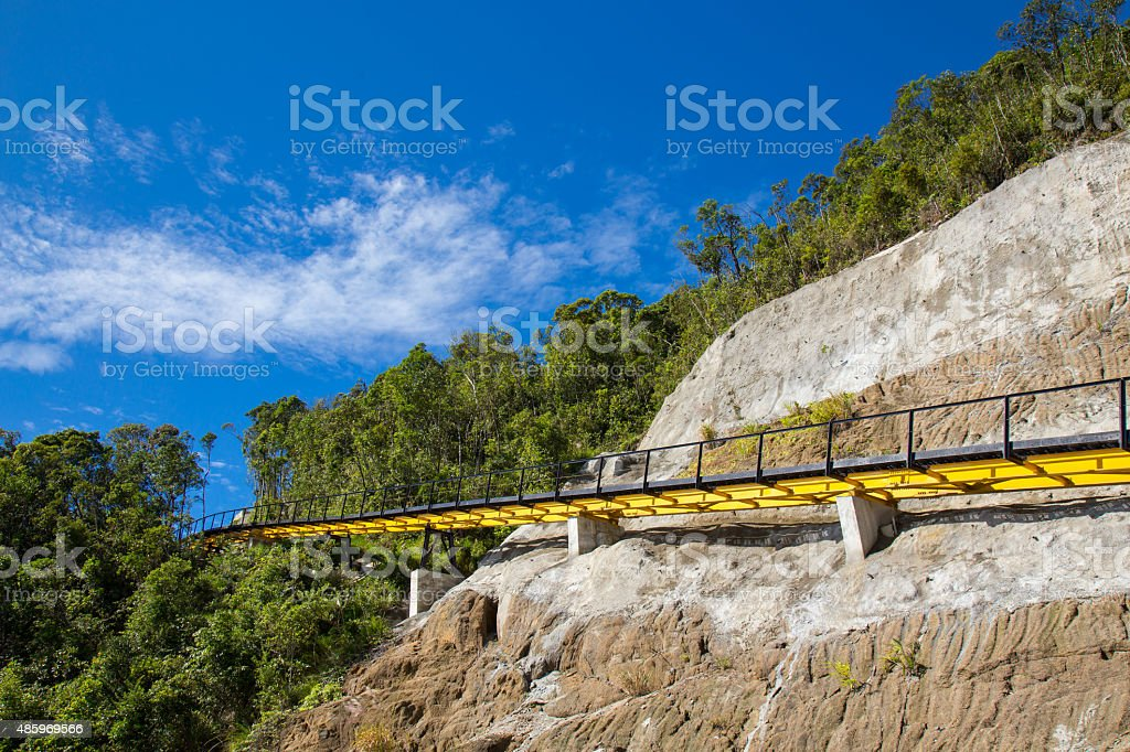 Monorail on Ba Na Hill, under blue sky royalty-free stock photo