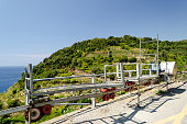 Monorail rack for grapes transport in Cinque Terre Liguria