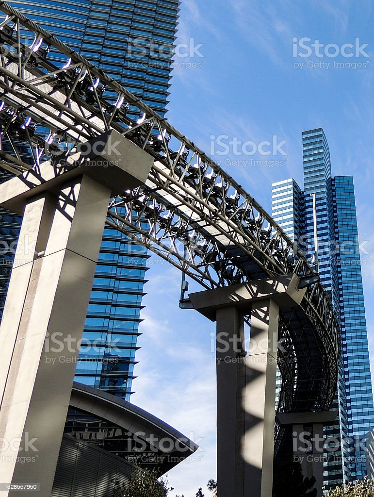 Monorail track and office buildings stock photo