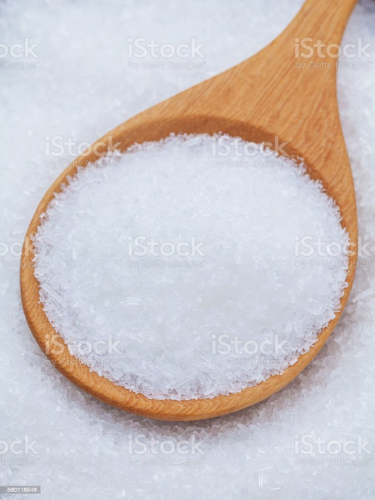 Monosodium glutamate (MSG) a flavor enhancer asian food.  Hight stock photo