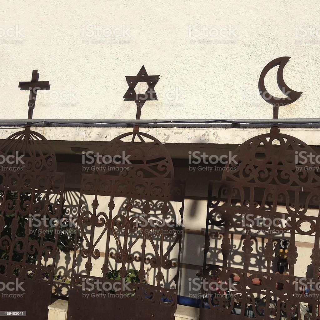 Monotheistic religious symbols stock photo