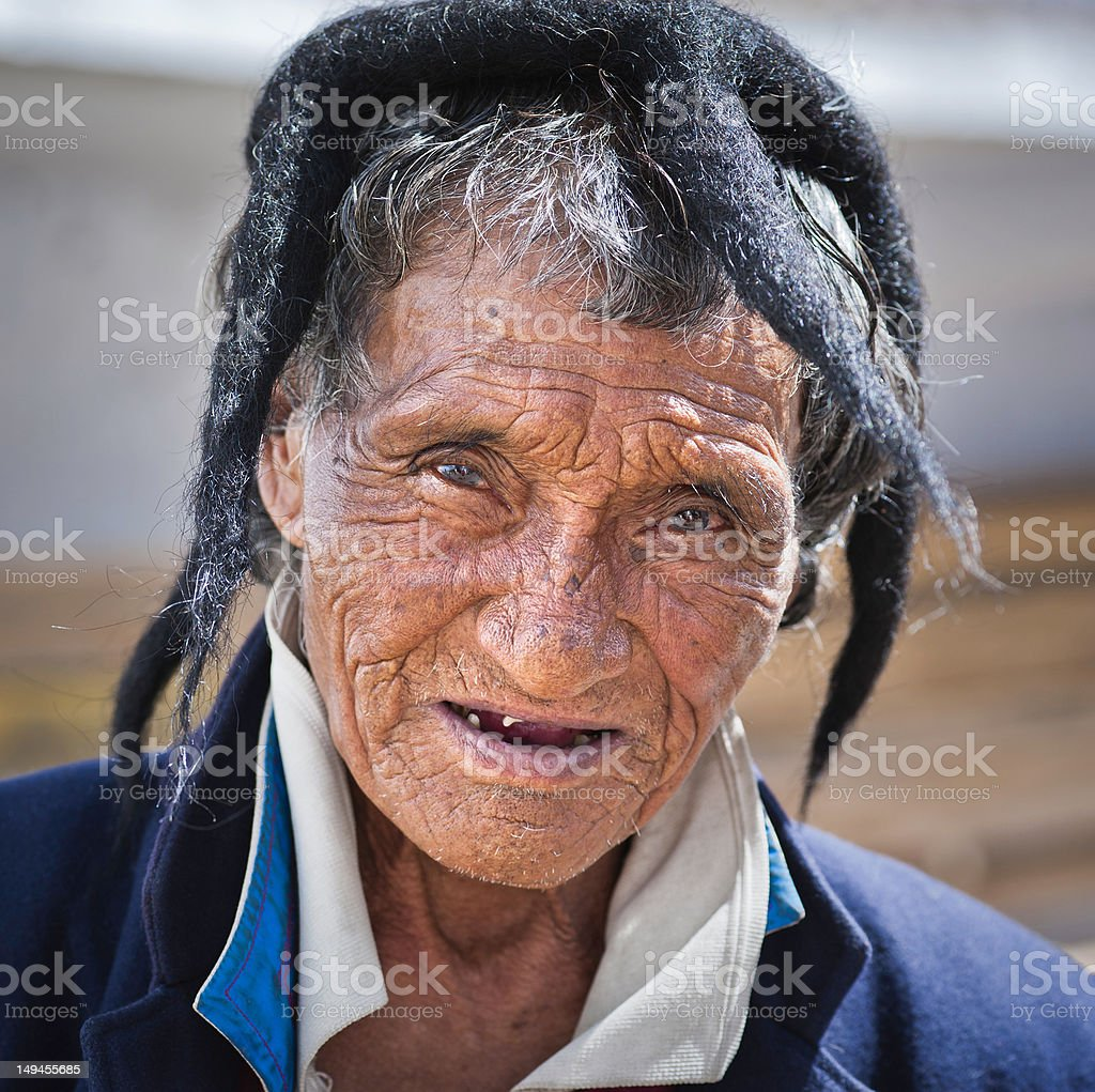 Monpa tribal man, Tawang, Arunachal Pradesh, India stock photo
