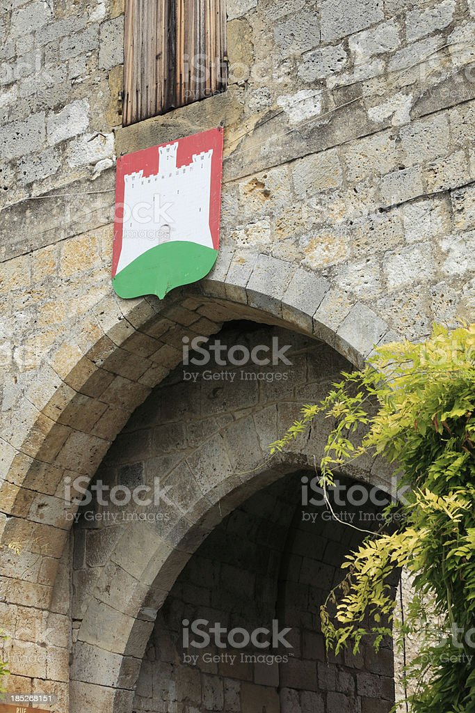 Monpazier's coat of arms stock photo