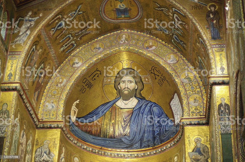 Monreale Cathedral, Blessing Christ in the central apse stock photo