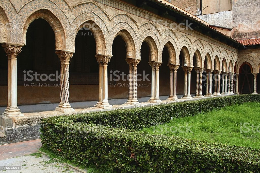 Monreale cloister royalty-free stock photo