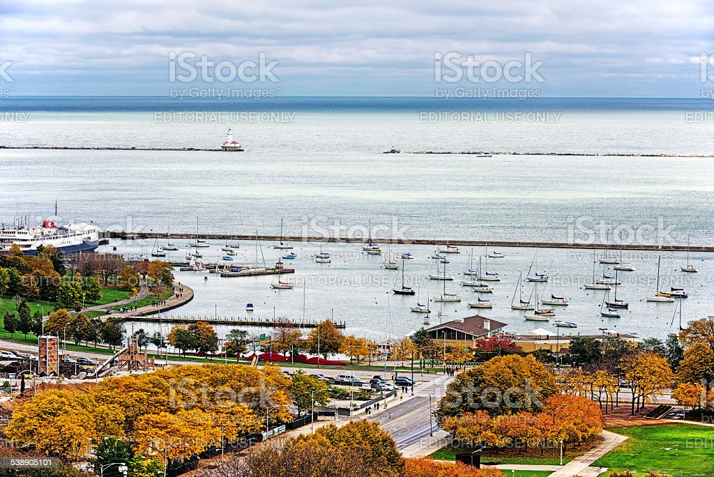 Monroe Harbor and  Chicago Yacht Club stock photo