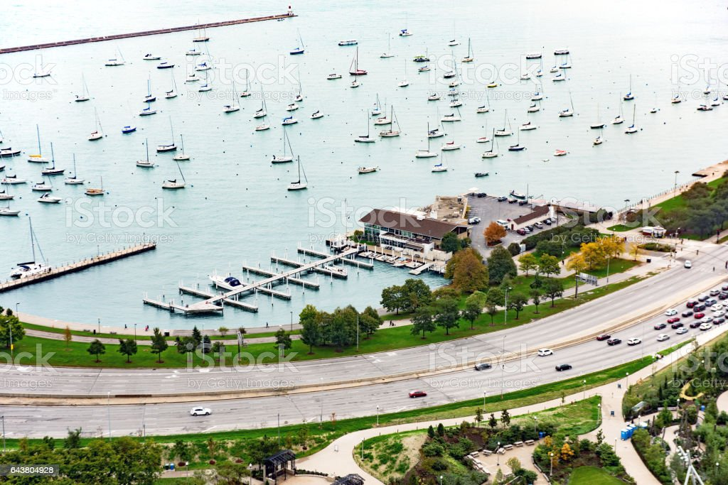 Monroe Harbor and Lakeshore Drive, Chicago stock photo