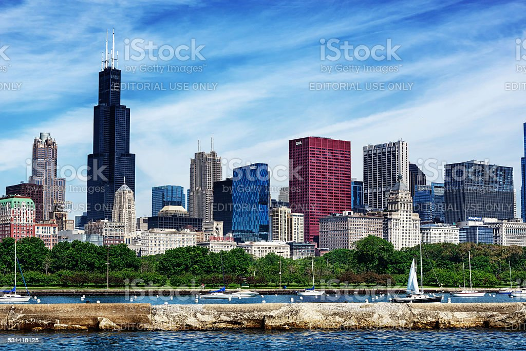 Monroe Harbor and the Chicago Skyline stock photo