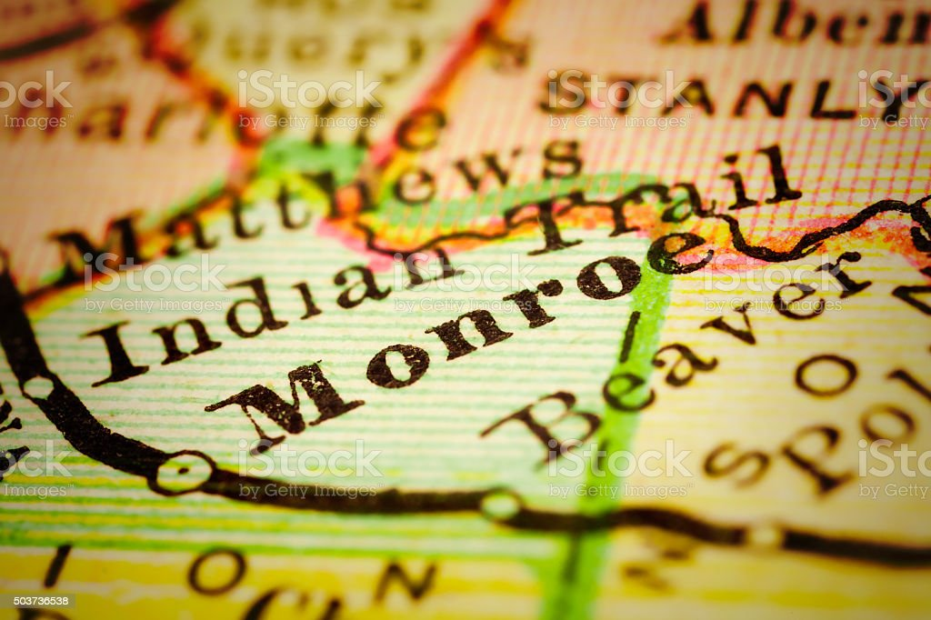 Monroe, North Carolina on an Antique map stock photo