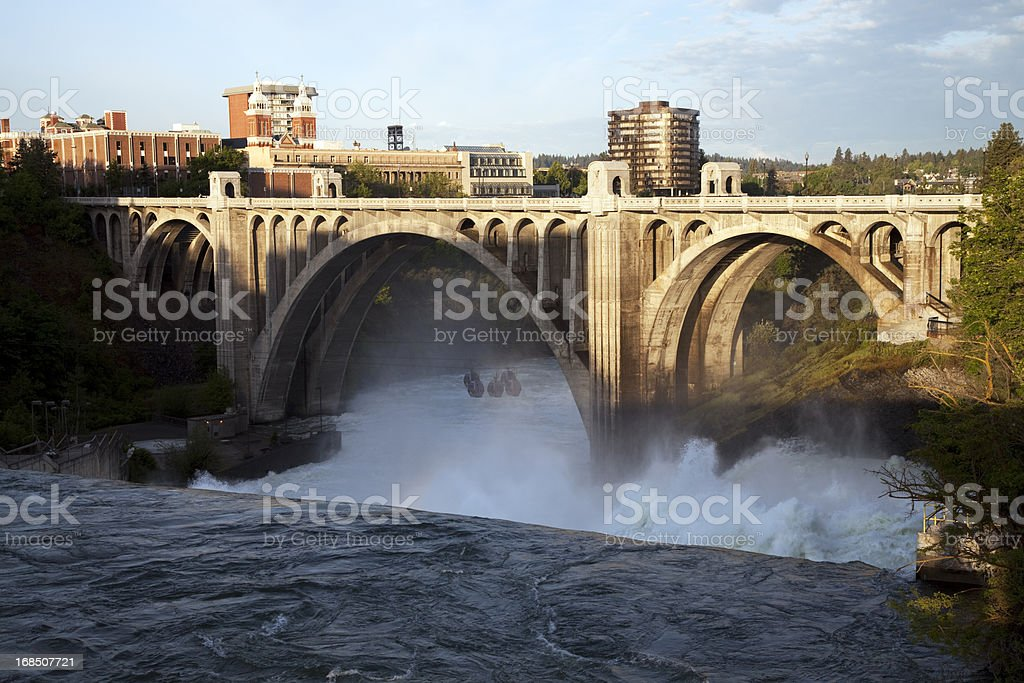 Monroe Street Bridge and Spokane Falls stock photo