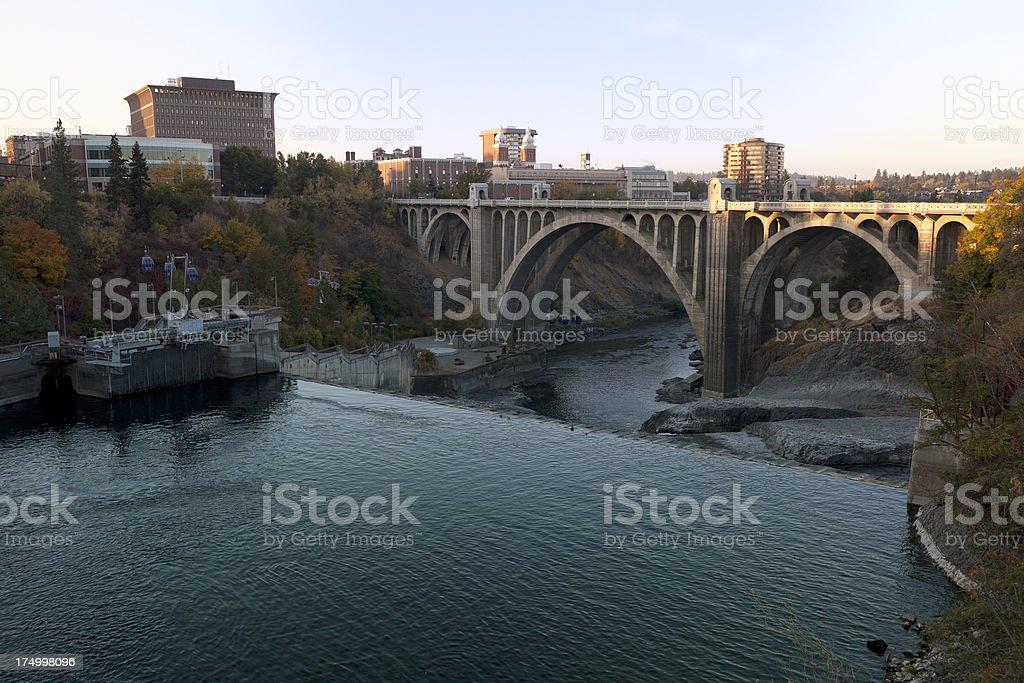 Monroe Street Bridge and Spokane Falls stock photo