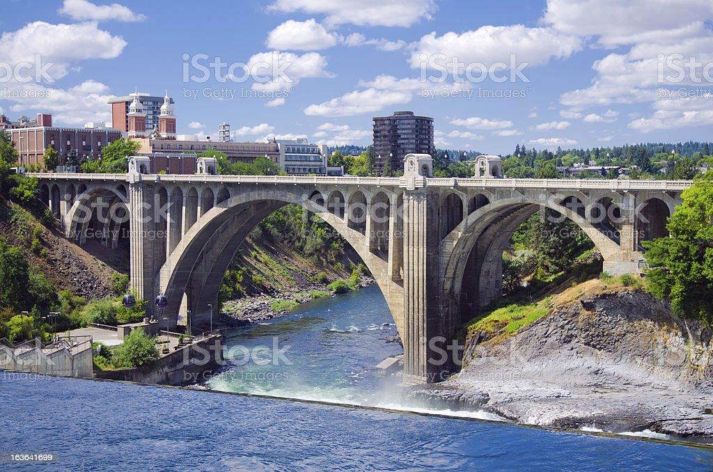 Monroe Street Bridge in Spokane, WA stock photo