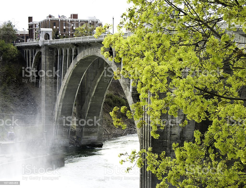 Monroe street bridge stock photo