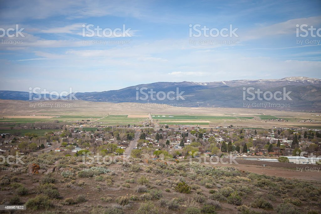 Monroe valley in central utah with mountains and homes stock photo