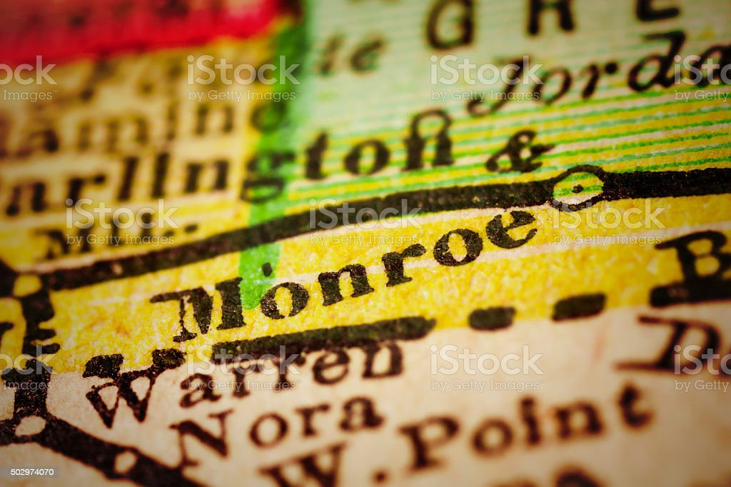 Monroe, Wisconsin on an Antique map stock photo
