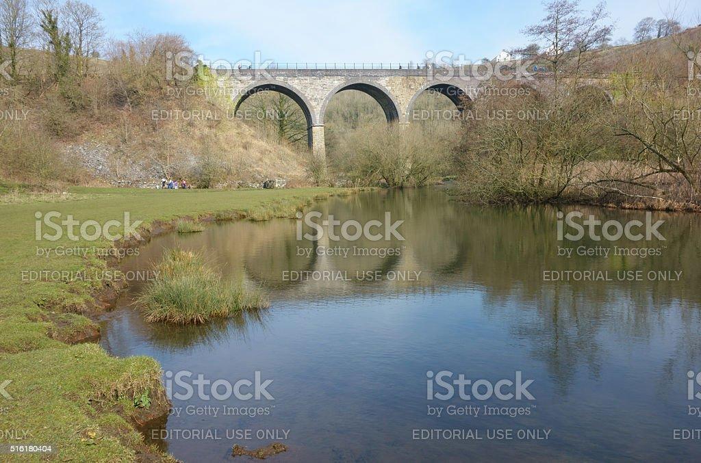 Monsal Dale and Viaduct at Monsal Head. stock photo