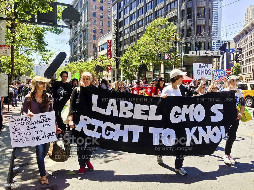 Monsanto and Genetically Modified Food Protest in San Francisco royalty-free stock photo