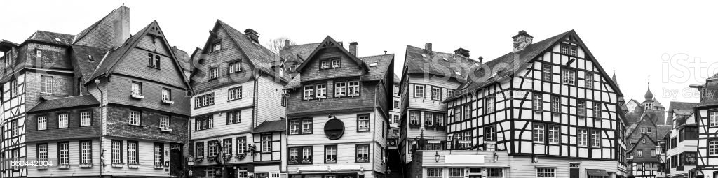 monschau historic city in germany high definition panorama bw stock photo