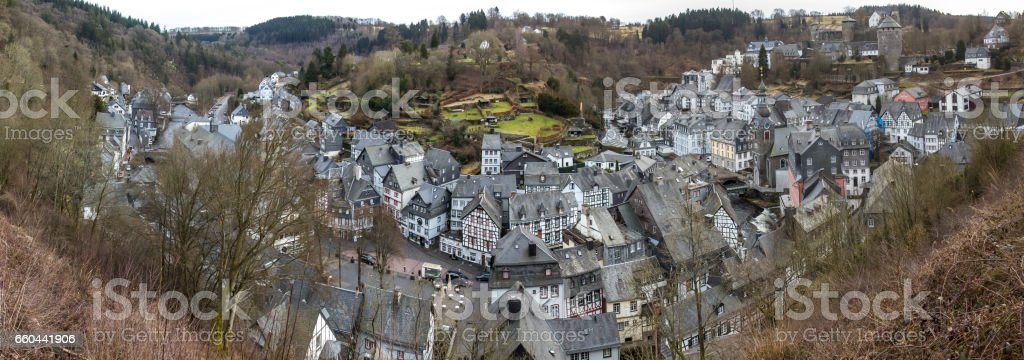 monschau historic city in germany high definition panorama stock photo